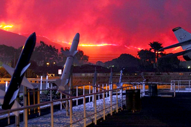Fire closes in on the Naval Base at Point Mugu in Ventura County