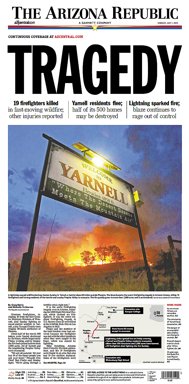 Newspaper front pages for Granite Mountain Hotshots